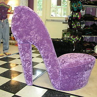 NEW PURPLE HIGH HEEL SHOE CHAIR FURNITURE GIRL GIFT (LAV HHSC)
