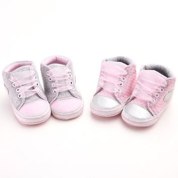 0-18 M Boy Baby Shoes Girl Non-slip Soft Soles Pram Crib Lace Sneaker Prewalkers