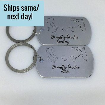 Long Distance Friendship, Long Distance Relationship, State or Country, Custom Engraved Keychain, Deployment Keychain, Gift for Her