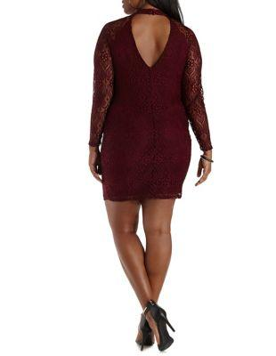 df128026943 Plus Size Red Mock Neck Long Sleeve Lace Dress by Charlotte Russe