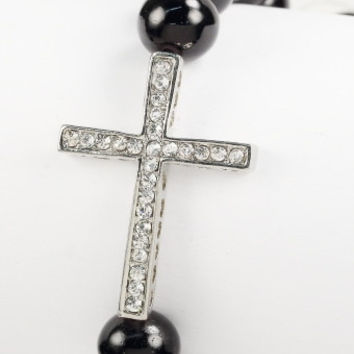Shamballa Silver Cross Bracelet Black Beads