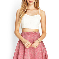 FOREVER 21 Layered Skater Skirt Burgundy/Cream