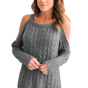 Grey Daring Cold Shoulder Cable Knit Sweater