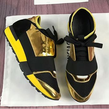 BALENCIAGA Popular Women Men Personality Metal Color Casual Shoes Golden/Black I-OMDP-GD