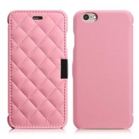 XY003 iPhone 6 Case, Benuo [Check Pattern] [Microfiber Leather] Folio Flip Leather Case for iPhone 6 4.7 inch (Pink)