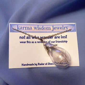 Silver Dandelion Wish Necklace Karma Wisdom Jewelry With Quote -not all who wander are lost- 925 Silver Necklace Personalized Gifts