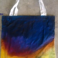 Hand painted tote bag abstract stormy sunset