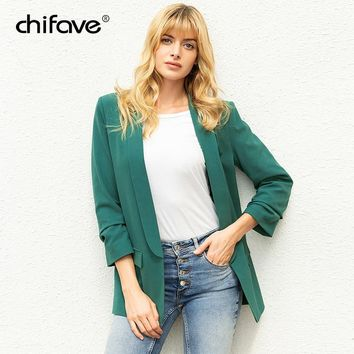 Women Blazers and Jackets Three Quarter Sleeve Office Ladies Workwear Business Suits Female Blazer Formal Coat Plus Size chifave