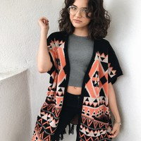 FREE FALLING FRINGE CARDIGAN- ORANGE