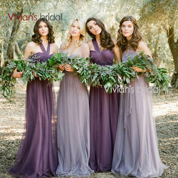 Vivians' Bridal Cheap Bridesmaid Dresses DIY Purple Bridesmaid Gowns Under 50 For Wedding Party #BM110