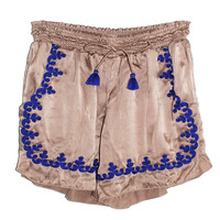 Taj Embroidered Silk Shorts | Les Pommettes