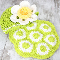 Crochet newborn turtle set,shell blanket cover  and beanie with flower, newborn photography, photo prop