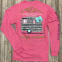 Simply Southern Happy Camper Long Sleeve Tee: Strawberry