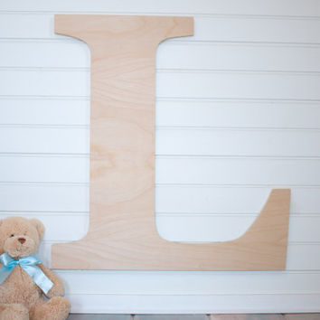Large Wooden Letter  Unpainted Unfinished Personalized nursery Letter wall hanging nursery decor wooden wall art, above a crib