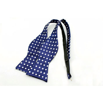 The Striped Bow Tie-Navy and White Dot