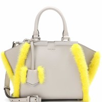3Jours Mini fur-trimmed leather tote