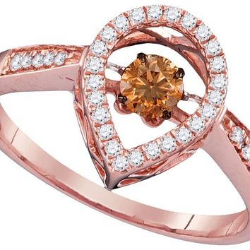 10kt Rose Gold Womens Round Cognac-brown Colored Diamond Moving Solitaire Ring 3/8 Cttw