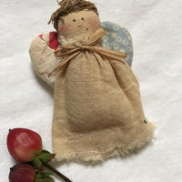 Vintage Puff Angel Doll fabric Holiday Kitschmas Pin Brooch so sweet &  Cute