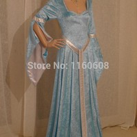 Fabulous Elven Style Gown Medieval Renaissance Fairy Satin Dress Custom Made All Sizes