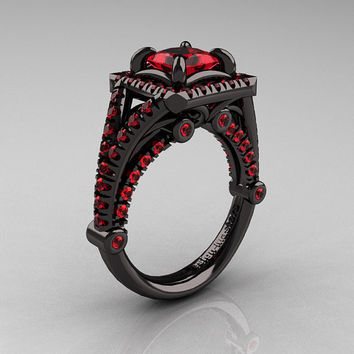 Modern Art Nouveau 14K Black Gold 1.23 Carat Princess Rubies Engagement Ring, Wedding Ring R336-14KBGR