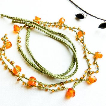 Free shipping Hippie headband tangerine orange by Mashacrochet