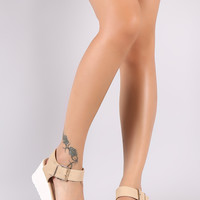 Nubuck Open Toe Ankle Strap Flatform Wedge