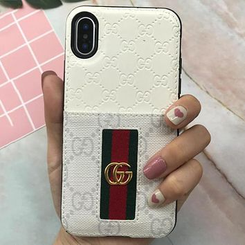 GUCCI tide brand business card package iphone7/8plus couple models mobile phone shell White