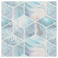 Blue marble 3d cubes fabric