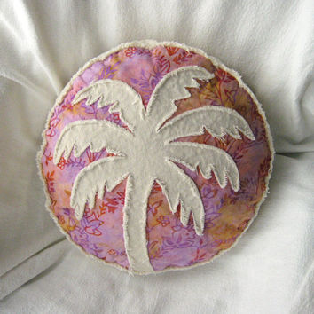 Palm tree boho pillow, violet, gold, and red orange batik and distressed natural denim round pillow