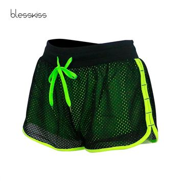 BLESSKISS Neon Yoga Running Shorts Women Short Tights Gym Sport Shorts Womans Fitness Clothing For Ladies Summer Sportswear