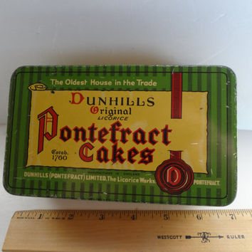 Vintage Tin W Lid Dunhills Original Licorice Pontefract Cakes Some Wear 6 And 1/4 Inches Long X  2 & 1/8 Inches Tall X 3 And 3/4 Inches Wide