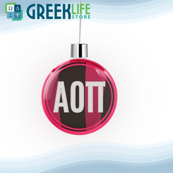 Alpha Omicron Pi Round Flat Ornament Christmas Decor
