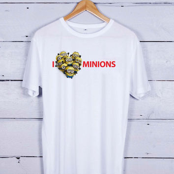 I Love Minions Vertical Tshirt T-shirt Tees Tee Men Women Unisex Adults