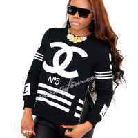 chanel inspired no. 5 coco sweatshirt | women's urban fashion & streetwear | 7twentyfour.com