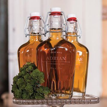 Personalized Clear Glass Flask for Groomsmen (Pack of 1)