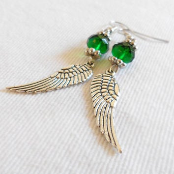 On the WINGS of an EMERALD ANGEL Vintage Silver Wing Earrings by WilwarinDesigns