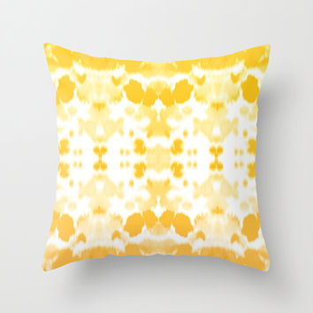 Ink mirror yellow Throw Pillow by Grace
