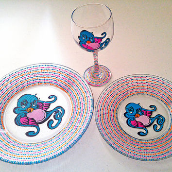 Sparrow Dinner Set Plates Wine Glass Graffiti Tattoo Design Glass
