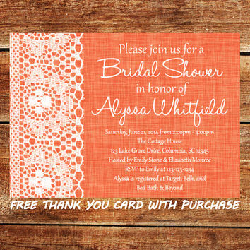 Lace Bridal Shower Invitation - Printable Coral Wedding Shower Invitation