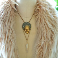 Billie// Raw Stone Crystal Necklace - Pyrite Dipped Brass - Boho Luxe - Natural Glam