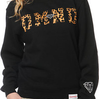 Diamond Supply Co Women's DMND Leopard Black Crew Neck Sweatshirt