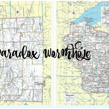 Vintage Double Sided 1992 90's Wisconsin Wyoming Map Atlas Office Wall Art Decor Man Cave