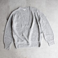 surplice knit sweater - heather grey