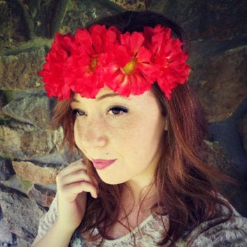 Boho Flower Halo, Flower Halo Crown, Boho Flower Headband, Hippy Flower Headband, Hippy Halo, Bridal Flower Halo, Wedding Flower Crown,