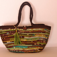 Boho Brown/Green Basketbag, Autumn Basket Bag, Bohochic Basket Bag