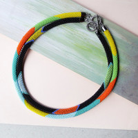 Bead crochet necklace, crochet rope, bright summer necklace, colorful statement necklace, 1pc