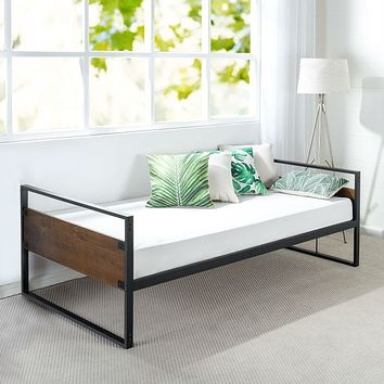 Twin Modern Wood Metal Daybed Frame with Steel Slats