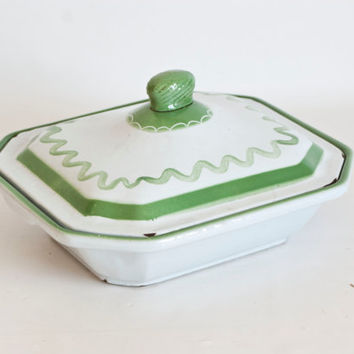 Vintage Enameled Cast Iron Serving Dish, Klafrestrom Sweden Baking Dish, Green Vintage Kitchen Decor, Swedish
