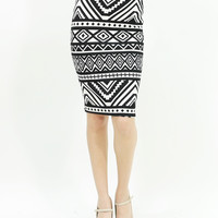 Sexy aztec tribal print Slim bodycon high waist mid length pencil skirt