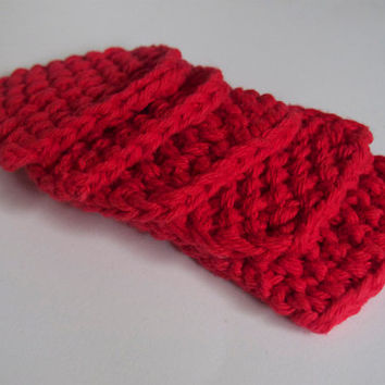 hand knit plushy cotton scrubbies in bright red